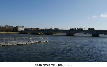 Putney.London,/UK-February 25 2018; Putney Bridge over the River Thames in London.