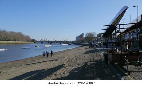 Putney,London/Uk-February 25 2018; Putney Embankment near the River Thames.