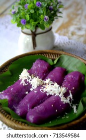 Puto bumbong is a Filipino dish made from purple-colored ground rice or sometimes purple yam. Cooked in bamboo tubes that are placed on a special steamer-cooker.