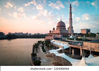 Putra Mosque during golden hour. Landscape Orientation