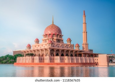 Putra mosque during sunset sky, the most famous tourist attraction in Malaysia