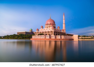Putra mosque during sunset sky, the most famous tourist attraction in Malaysia.