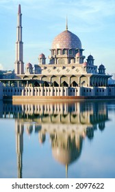 Putra Mosque on the lake in Putrajaya, Malaysia.