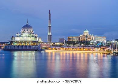 Putra Mosque and Perdana Putra in Putrajaya at evening