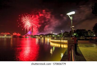 Putrajaya bridge with fireworks above it