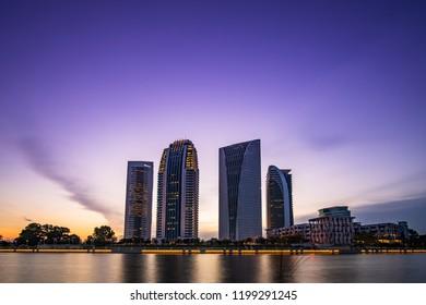 putrajaya building sunrise view with reflection