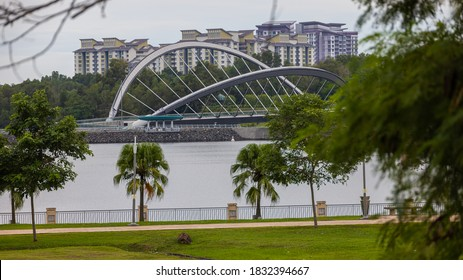Putrajaya Dam and Bridge in the government city close to the capitol city of Malaysia, Kuala Lumpur. Bridge is only for pedestrian and basically the dam for the Putrajaya lake.
