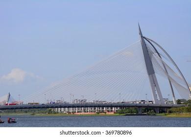 PUTRAJAYA - JANUARY 25 :Seri Wawasan Bridge on 25 January 2016 at Putrajaya, Malaysia. Putrajaya is a young, artificial town full of modern architecture.