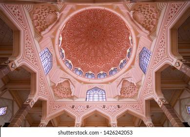 PUTRAJAYA MALAYSIA - 03 JANUARY 2019: Interior of Masjid Putra Mosque or Pink Mosque in Putrajaya