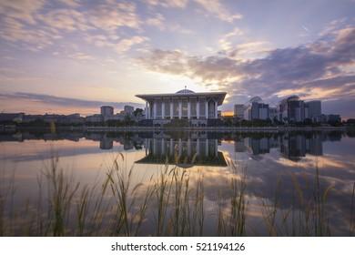 Putrajaya, Malaysia- 05/12/2015: Sunrise view at Masjid Besi (Iron Mosque) or Masjid Tuanku Mizan Zainal Abidin, Putrajaya, Malaysia
