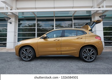 PUTRAJAYA, MALAYSIA 1 Mac 2019 : A new model of the well-known and popular brand of BMW X2. Luxurious executive car on the street.