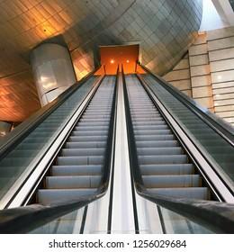 Putrajaya, Malaysia - 1 November 2018: Moving escalator up, mecanic, electic, Stair and escalators in a public area.