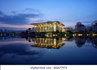 Putrajaya, Malaysia - 13 March, 2017: A reflection of Masjid Sultan Mizan or Iron Mosque during blue hour.