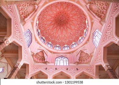 PUTRAJAYA MALAYSIA -14 JANUARY 2019: Interior of Masjid Putra Mosque or  Pink Mosque in Putrajaya.