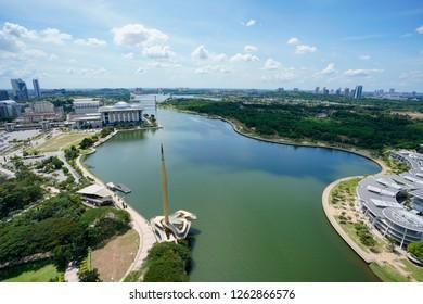 Putrajaya, MALAYSIA - 18 December 2018: Aerial view of Putrajaya in the afternoon