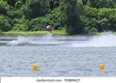 PUTRAJAYA, MALAYSIA 27 AUGUST 2017: Athletes in action Wakeboard Individual at  Water Sports Complex, Precint 6, Putrajaya, Malaysia at the 29th Sea Sports Tournament, Kuala Lumpur 2017.