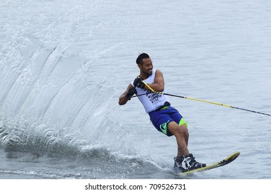 PUTRAJAYA, MALAYSIA 27 AUGUST 2017: Athletes in action Slalom Individual at Water Sports Complex, Precint 6, Putrajaya, Malaysia at the 29th Sea Sports Tournament, Kuala Lumpur 2017.