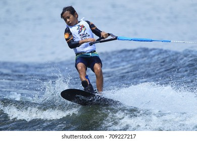 PUTRAJAYA, MALAYSIA 29 AUGUST 2017: Athletes in action Wakeboard Individual at Water Sports Complex, Precint 6, Putrajaya, Malaysia at the 29th Sea Sports Tournament, Kuala Lumpur 2017.