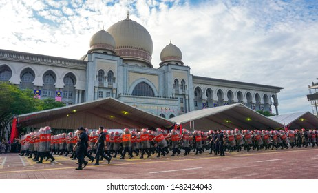 PUTRAJAYA, MALAYSIA - 29th AUGUST 2018; National defence forces were marching for Malaysia's Independence Day in front of Federal Court building at Putrajaya, Malaysia. Malaysia National Parade.