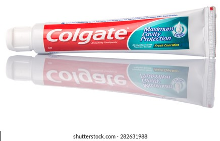 PUTRAJAYA, MALAYSIA - 31TH MAY 2015. Colgate tooth paste. The Colgate-Palmolive Company is an American multinational consumer products company producing household, health care and personal products.
