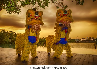 PUTRAJAYA, MALAYSIA - 5 NOVEMBER 2017: The Lion Dance is performed to ward off evil and bring good fortune during Upcoming Chinese New Year event in Putrajaya.