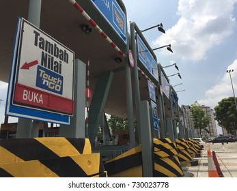 PUTRAJAYA, MALAYSIA - 8th OCTOBER 2017: Less traffic at toll plaza in the morning