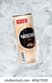 PUTRAJAYA, MALAYSIA - APRIL 15 TH, 2016. Can of Nescafe latte on ais tube. Nescafe drinks are produced and manufactured by Nestle Product Sdn. Bhd, Malaysia. vary popular in Malaysia.