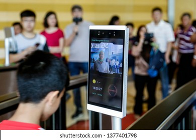 PUTRAJAYA, MALAYSIA - APRIL 21, 2019. A device known as 'Intelligent Facial Biometric' entrance security scan using a 5G technology developed by Huawei display in Putrajaya, Malaysia.