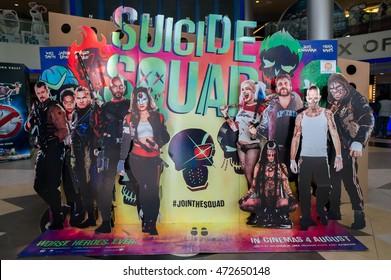 PUTRAJAYA, MALAYSIA - August 20, 2016: Suicide Squad poster displayed at Alamanda Putrajaya Mall. Suicide Squad is a 2016 American superhero film based on the DC Comics antihero team