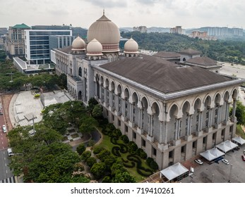 Putrajaya, Malaysia, August 2017 : Aerial view of beautiful federal government building - Palace of Justice, Putrajaya, Malaysia from a drone