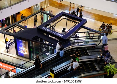 Putrajaya, Malaysia - August 26, 2019 : From top view of Estee Lauder beauty cosmetic shop in shopping mall.