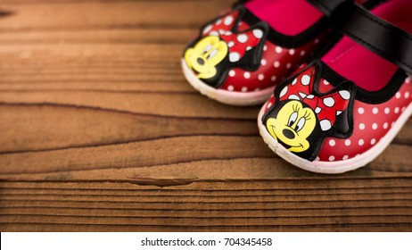 Putrajaya, Malaysia - August 28, 2017 : Minnie Mouse Shoes. Fashion Trendy Baby and Kid Wear. Minnie Mouse cartoon characters are always favorites for girls