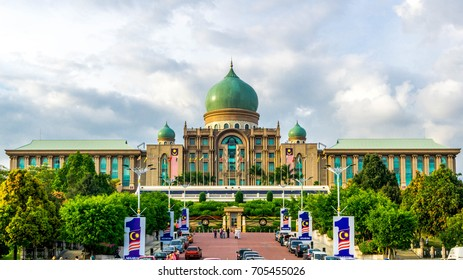 PUTRAJAYA, MALAYSIA, AUGUST 28 2017 - Perdana Putra is a houses the office complex of the Prime Minister of Malaysia. Located on the main hill in Putrajaya, Malaysia.