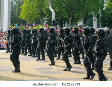 Putrajaya, Malaysia - August 31, 2019: Malaysian Armed Forced contingent marching at the 62nd Independence day or Merdeka Day celebration of Malaysia in Putrajaya.