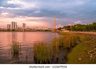 Putrajaya, Malaysia - Circa June 2018 - A beautiful late afternoon shot of Putrajaya Lake with buildings and structures in the background