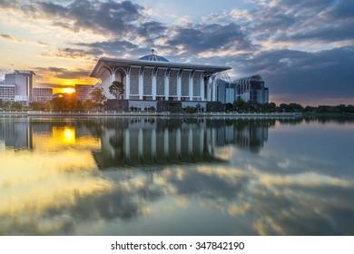 PUTRAJAYA, MALAYSIA - DEC 5, 2015 : Masjid Tuanku Mizan Zainal Abidin during sunrise at Putrajaya, Malaysia