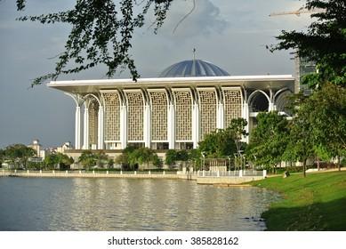 PUTRAJAYA, MALAYSIA -DECEMBER 05, 2013: Tuanku Mizan Zainal Abidin Mosque at Putrajaya, Malaysia. Also known as The Steel Mosque.