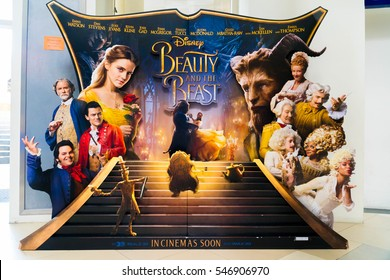 PUTRAJAYA, MALAYSIA - DECEMBER 30, 2016 : Beauty and the Beast movie poster. This movie is an adaptation of the Disney fairy-tale about a monstrous prince and a young woman who fall in love.