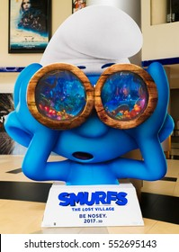 PUTRAJAYA, MALAYSIA - DECEMBER 30, 2016 : Smurfs: The Lost Village poster. This movie is about Smurfette and her friends on an exciting race through the Forbidden Forest