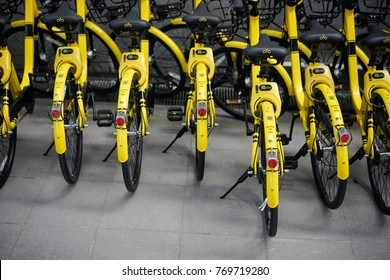 Putrajaya, Malaysia - December 6, 2017 : A row of bicycle operated by OFO , the world's first and largest station-free bike share platform and mobile app in Putrajaya, Malaysia.