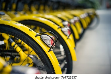 Putrajaya, Malaysia - December 6,2017 : Closed up of bicycle operated by OFO in Putrajaya Malaysia. Selective focus.