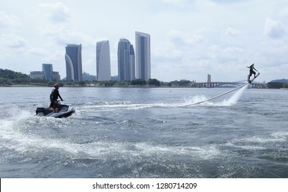 PUTRAJAYA, MALAYSIA: The expertise of Flyboard during Stuntman in Marina Putrajaya Lake on August 09, 2015