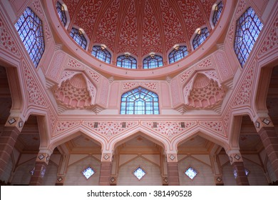 PUTRAJAYA, MALAYSIA, FEB 21, 2016 : Inside the Putra Mosque, It is constructed with rose-tinted granite and located in a popular touristic and administrative location.