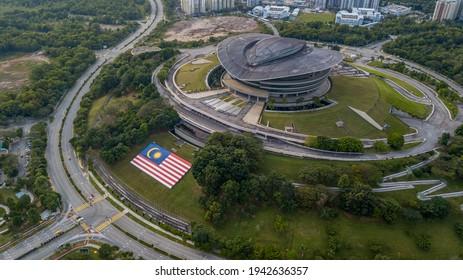 PUTRAJAYA, MALAYSIA - FEBRUARY 1, 2021: Modern unique building in Putrajaya called PICC (Putrajaya International Concention Center)