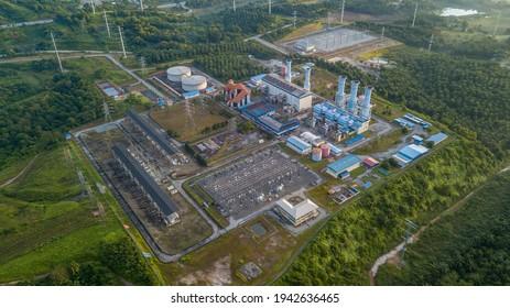 PUTRAJAYA, MALAYSIA - FEBRUARY 1, 2021: Gas turbine power plant during sunrise
