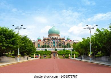 PUTRAJAYA, MALAYSIA - JANUARY, 03 : Malaysian Prime Minister's office facade on January 03, 2019 in Putrajaya, Malaysia. Prime Minister's office is situated in planned city Putrajaya.