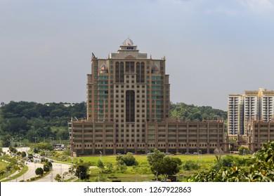 Putrajaya, Malaysia - January 15 2014: Ministry of Higher Education (malay: Kementerian Pendidikan Tinggi). Until 2013 known as Ministry of Education (malay: Kementerian Pelajaran Malaysia  - KPM)
