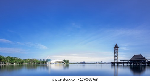 Putrajaya / Malaysia - January 21 2019: A slow shutter shot at Putrajaya water sports complex near Pullman Lakeside Resort Putrajaya. Photo was capture during early morning with ND filter,.
