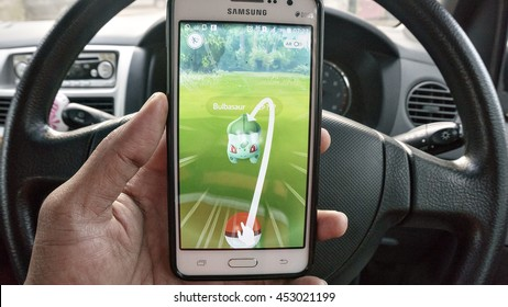 Putrajaya, MALAYSIA - JULY 14TH, 2016: Pokemon Go logo on android phone. Pokemon Go is a free-to-play augmented reality mobile game developed by Niantic for iOS and Android devices.