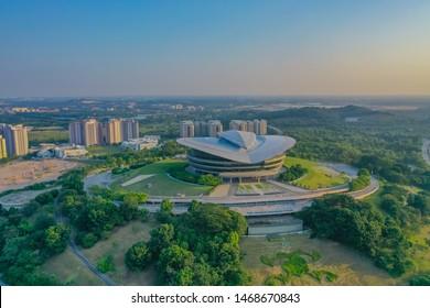 Putrajaya, Malaysia, July 2019: Aerial View Of Putrajaya International Convention Centre With Sunset Glow